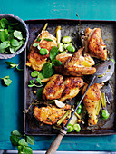 Roast chicken with broad beans and lemon