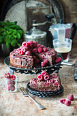 Brownie pie with raspberries