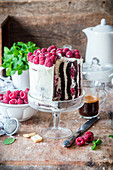 Chocolate raspberry cake, layered vertically