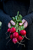 A woman holding a bunch of radishes