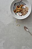 Caramelised banana and chia breakfast bowl