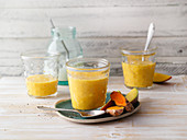 Mango lassi with sea buckthorn and turmeric