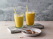 Iced coconut and banana shake with turmeric