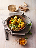 Spicy cauliflower curry with turmeric (India)