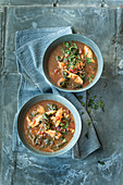 Chicken and chard soup flavoured with orange