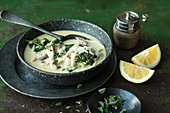 Chicken and lemon soup with rice (Greece)