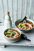 Oriental rice noodle soup with honeyed meat