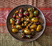 Marinated olives with pomegranate pulp from Gilan (Iran)
