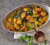 Khoreshte Aloo-Esfenadj – meat with a Persian spinach and yellow plum sauce