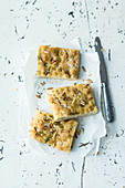 Ligurian focaccia with pine nuts and rosemary (Italy)