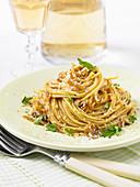 Carmelized onion pasta carbonara