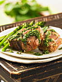 Lamb chops with garlic and mint sauce