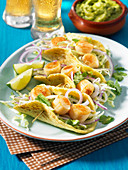 Grilled scallop tacos with spiralized cabbage slaw