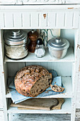 No-knead chestnut bread in a kitchen cupboard
