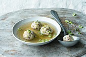 Tyrolean bacon dumpling soup