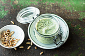 Chilled courgette soup with yoghurt and pine nuts