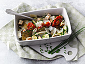 Warm roasted vegetable salad with smoked tofu