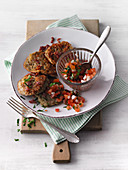 Bulgur fritter with tomato salsa