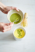 Golden matcha latte with turmeric