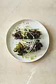 Algensalat mit Microgreens im Gurkenschiffchen