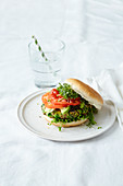 Veggie pea burger with microgreens