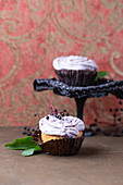 Cupcakes with elderberry frosting