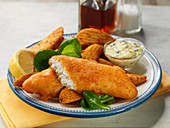 Fish and chips with tartare sauce