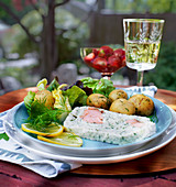 Fish terrine with potatoes and lettuce