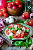 Caprese salad with balsamic vinegar and fresh basil