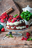 Berry cake with chocolate sponge and whipped cream