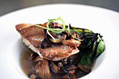 Pan roasted snapper with wild mushroom in miso broth