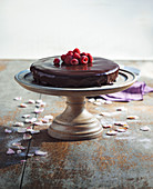 Chocolate cake and raspberries