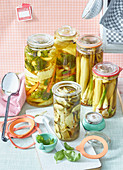 Preserved cucumber, cabbage and courgette