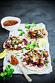 Carnitas tacos with red cabbage
