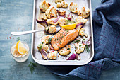 Oven-baked cauliflower with salmon