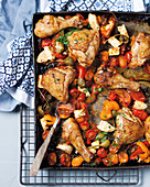 Oven-roasted chicken with feta, capers and tomatoes