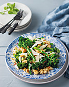 Broccoli with chilli, garlic and buttered breadcrumbs