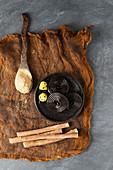Liquorice swirls, liquorice roots and liquorice powder