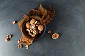 Hazelnuts, walnuts and almonds