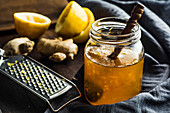 Homemade lemon marmalade with ginger