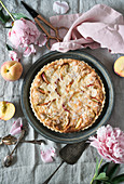 Whole Peach Almond Tart, Silver Cake Server