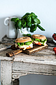 Bagels with tomatoes, mozzarella and basil