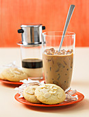 Vietnamese iced coffee and coconut and almond cookies