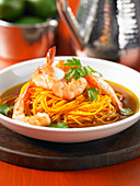 Prawn soup with spiralized carrots