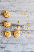 Banana cupcakes on a wooden background