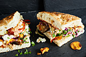Vegetable doner kebab sandwiches and sweet potato chips