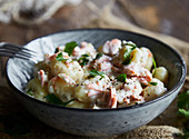 Gnocchi with salmon in a creamy sauce