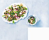 Cauliflower tabbouleh with mint and radishes
