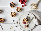 Muesli muffins with berries for breakfast