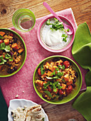 Red lentil salad with carrots and sweet potatoes